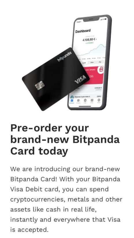 Beleggen in Cryptovaluta - Bitpanda Card