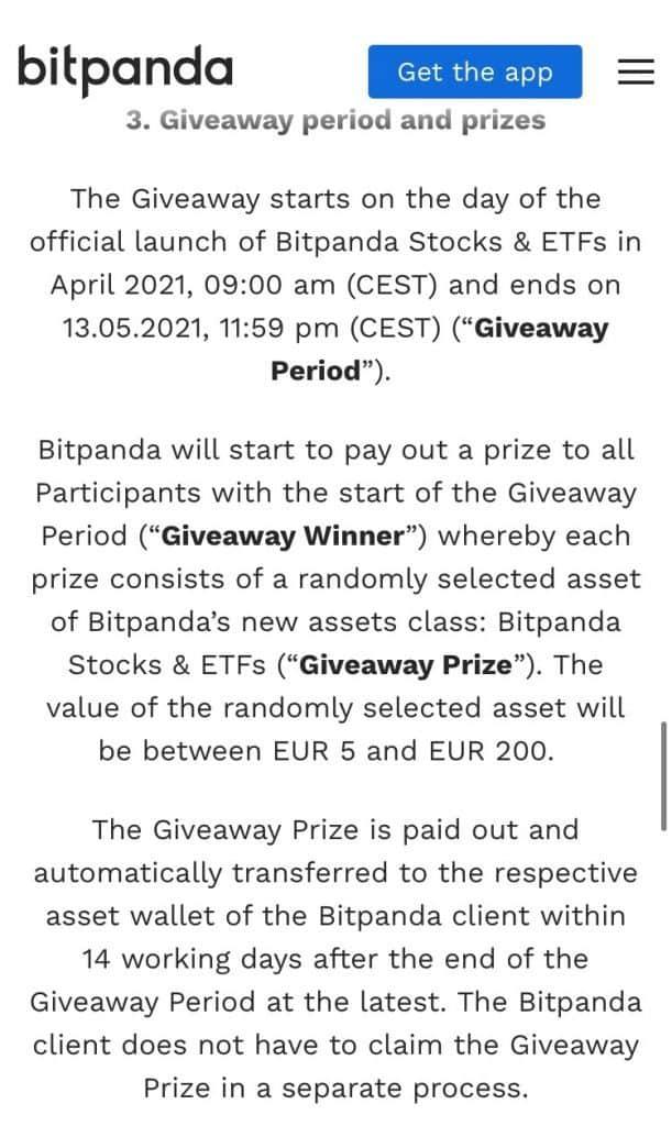 Gratis aandeel bij Bitpanda