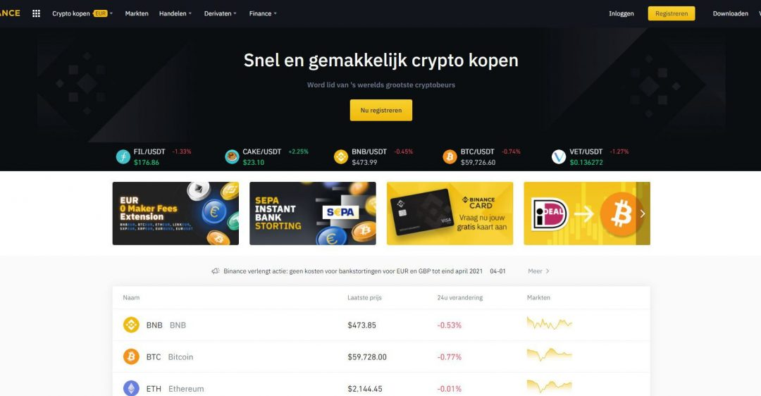 Crypto handelen bij Binance - dejongebelegger