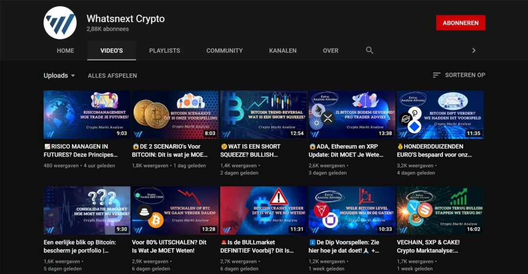 YouTube beleggen - WhatsNext Crypto